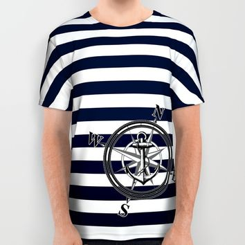 Navy Striped Nautica All Over Print Shirt by Nicklas Gustafsson
