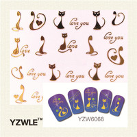 YZWLE 1 Sheet Nail Gold Cat Style For 2016 Nail Sticker Nail Gold Sticker