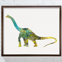 Dinosaur Painting, Baby Boy Nursery, Brachiosaurus, Nursery Wall Decor, Kids Room Decor, Watercolor Dinosaur, Dinosaur Art, Dinosaur Print