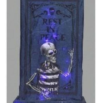 "36"" LED Lighted B/O RIP Tombstone with Skeleton Halloween Yard Art with Timer"