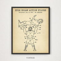 Hulk Hogen Action Figure Patent Art, Digital Download, Hulk Hogan WWE Poster Print, Retro Toys, Boys Room Decor, Play Room Wall Art, WWE Fan