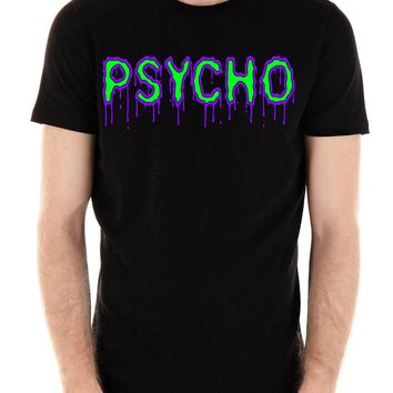 PSYCHO Purple & Green Drip Melting Men's T-Shirt Horror Clothing