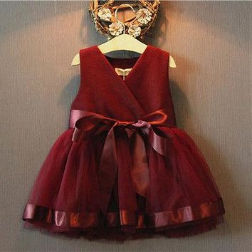 Wine Red Girls Dress Princess Pageant Princess Dresses Summer Baby Girls Party Lace Tulle Gown Formal Dresses 2-7Y