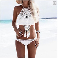 Brazilian National Ethnic Style Crochet Bikini Bandeau Handmade Halter Hollow Out Micro Bikini Shorts Swimming Suit For Women
