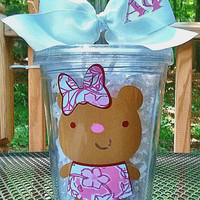 Alpha Phi Teddy Bear Lilly Accent Sorority Tumbler 16 oz. (upgraded sizes available)