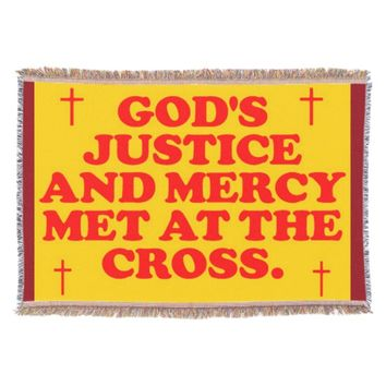 God's Justice And Mercy Met At The Cross. Throw Blanket
