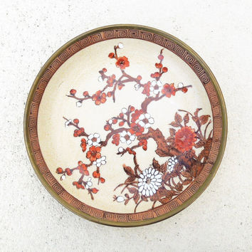 Vintage Cherry Blossom plate encased in brass - Japanese porcelain decorated in Hong Kong - Made by A.F.C. (Ready to ship)