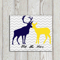 Deer Couple printable Navy Yellow Mr and Mrs print Wedding Anniversary gift idea Card Gray chevron Valentine decor Stag doe poster Custom