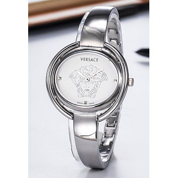 VERSACE Stylish Ladies Men Delicate Movement Quartz Watches Boys Girls Wristwatch Silvery