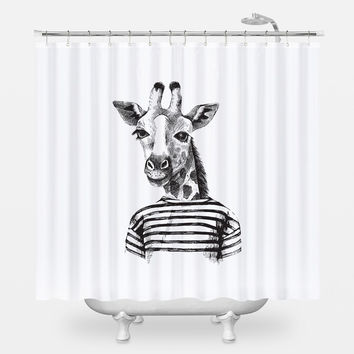 Hipster Giraffe Shower Curtain