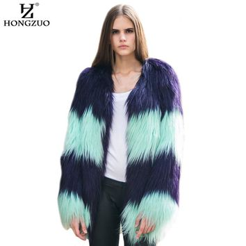 [HONGZUO] 2017 New Arrival Fashion Women's Gradual Color Fur Coat Winter Thick Warm Faux Fur Coat Jacket Luxurious Parka PC202