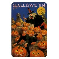 Vintage Halloween Magnet with Witch & Pumpkins