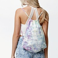 Petals and Peacocks Tie-Dye Checklist Drawstring Bag - Womens Handbags - Multi - One