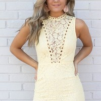 Now And Then Yellow Lace Dress