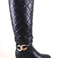 Black Wedge Boot with Quilt and Buckle Design