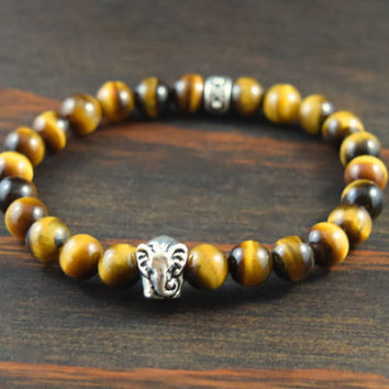 Men's Tiger Eye Bracelet. Men's Beaded Bracelet. Elephant Bracelet. Men's Yoga Bracelet. Men's Fashion Bracelet. Lotus and Lava Bracelet.