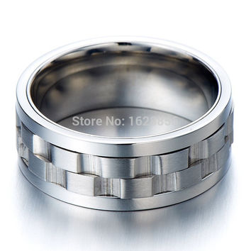 9 2015 High Fashion Cool Hot Design Wedding Wide Cigar Silver Spinner Band Hipster Jewelry Ring