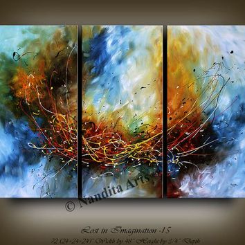 "Abstract Painting, 72"" Oil Navy Blue Gold Modern Wall Art Large Painting Triptych XXL Artwork Rustic Luxury Decor, Nandita Albright"