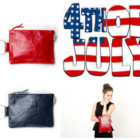4th Of July SALE - 50% Off - American flag Leather Bag - leather Clutch - Red White and Blue July 4th Fashion Accessory - Fourth of july