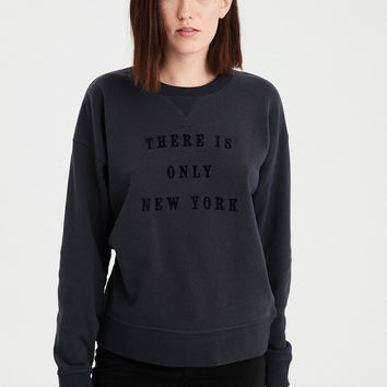 AE NYC Graphic Crew Neck Sweatshirt, Black