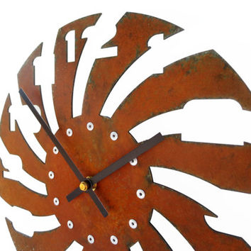 Sawblade III, Rusty Wall Clock, Metal Art, Modern, Original, Family, Farmhouse, Non Ticking, Natural, Round, Retro, Decorative, 10 inch