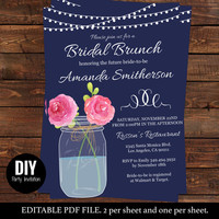 Navy Bridal Shower Invitation Printable - Bridal luncheon invitations navy - Bridesmaid Invite -  Downloadable editable invitations #DPI1270