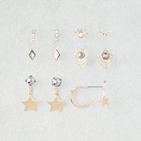 AEO Star Hoops & Ear Jackets 6-Pack, Gold