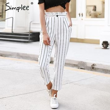 Simplee Streetwear striped harem pants capri  Ruffle loose casual pants women  Summer trousers high waist pants bottom
