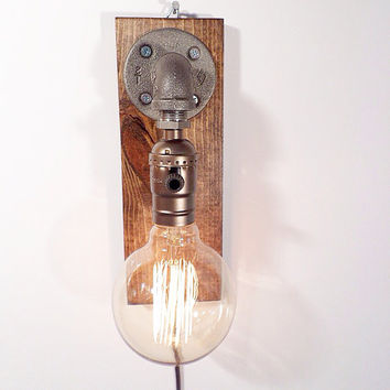 Globe style Edison Bulb Wall Sconce lamp - Walnut Gorgeously finished wood base - Steam punk style light - New york loft industrial style