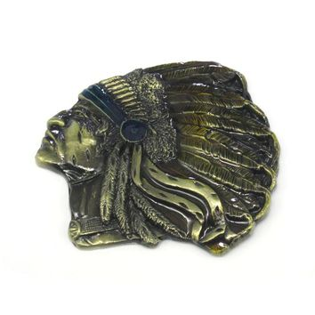 Bronze Indian Chief  Native American Western Motorcycle Belt Buckle