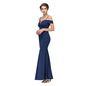 Navy Blue Off Shoulder Mermaid Style Evening Gown with Sweetheart Neckline