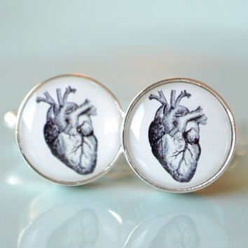 Vintage heart love Cufflinks - gift for him or her