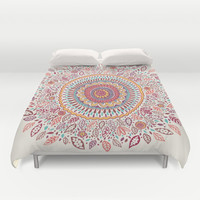 Sunflower Mandala Duvet Cover by Janet Broxon