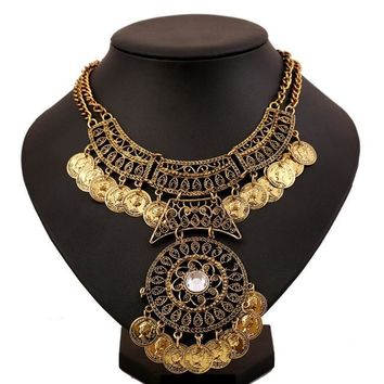 Women Bohemian Jewelry Double Chain Coin Statement Necklace GD