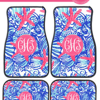 Lilly Pulitzer Inspired She She Shells Monogram Car Mats
