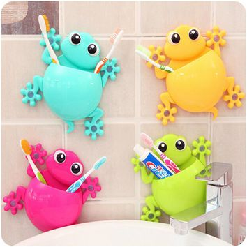 Cartoon Sucker Gecko Toothbrush Holder Wall Suction Hook Tooth Brush Holder Home Decor For Kids Bathroom Accessories