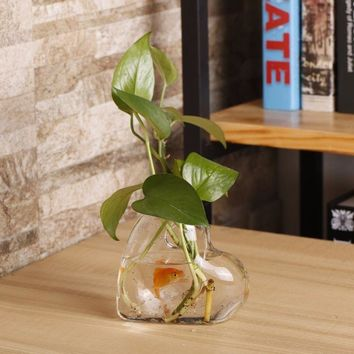2017 New Heart Shaped Transparent Wall Hanging Vase Hydroponic Container Plant Flower Glass Bottle Home Office Wedding Decor