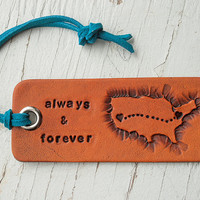Long distance love - personalized travel Luggage tag - Hearts or Stars on two locations - and country or countries - key ring or suede cord