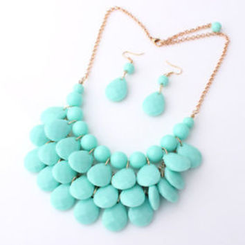 Mint Aqua Teardrop Bead Bubble Bib Statement Necklace & Earrings Set