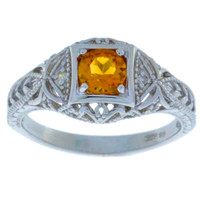 Citrine & Diamond Round Ring .925 Sterling Silver