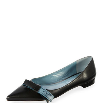 Prada Flat Leather Bow Skimmer