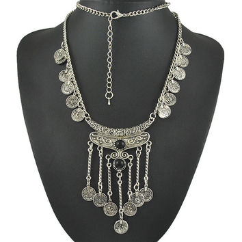 Coin Tassel Necklace