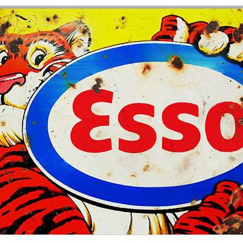 Distressed ESSO Tiger Motor Oil Reproduction Sign 12″x18″