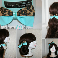 Cheetah Print Clip on Hair Bow