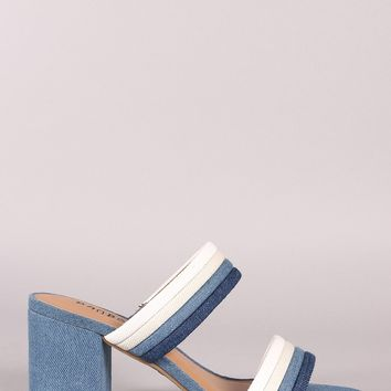 Bamboo Denim Piping Double Straps Low Block Mule Heel