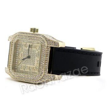 Iced Out 14k Gold Pt Square Shape Black Band Watch F67g