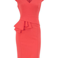 Coral V neck peplum dress - New In Dresses - Dresses - Dorothy Perkins United States
