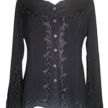 Gypsy Medieval Embroidered Gothic Peasant Top Bell Blouse