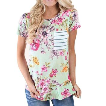 Style201 Women Short Sleeve O-Neck Polyester Printed Casual Tops 0901-09