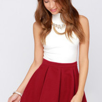 Glamorous Long-Stemmed Pose Wine Red Mini Skirt
